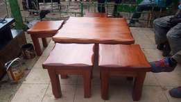 Jaka furniture: mahogany coffee table with stools