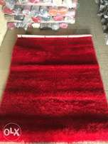 fluffy shaggy plain sharp red center rugs (4 by 6)