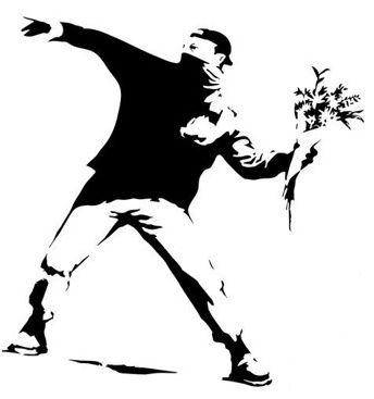 Banksy Naklejka Na Sciane Meble Chuligan Kwiaty Street Art Bytom