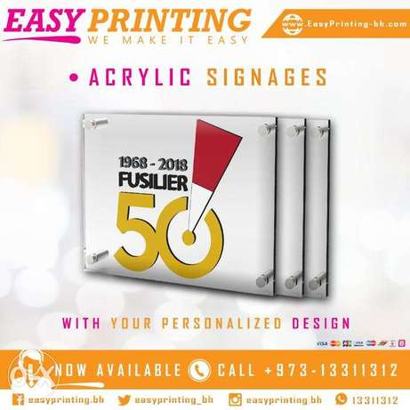 Acrylic Signage Printing - With Fixing & Free Design Service!