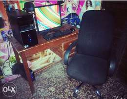Deskstop Computer and Executive Office Chair