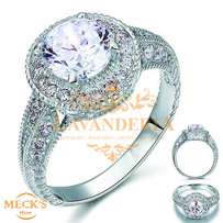 Round Vintage Style 2 Carat CZ Authentic Silver Engagement Ring