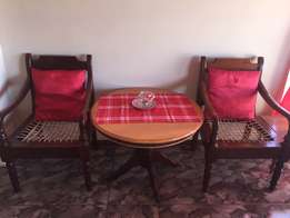 Solid wood table & riempie chairs set