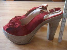 793907e6cc69b4 buty damskie letnie wizytowe balowe wysoki obcas koturn czerwone skóra