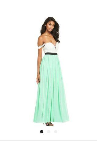 c8b4fbed6e3 Нарядное вечернее длинное мятное платье макси евросетка юбка Англия ...