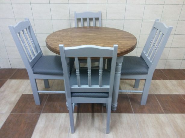 Krzesła Okrągły Stół Sosnowy Toczone Nogi Kuchnia Bar