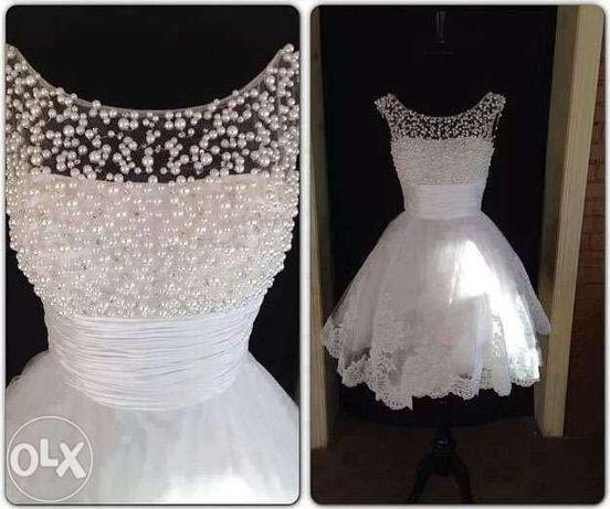 Krótka Suknia Sukienka ślubna Wesele 34 36 S 38 M 40 L 42 Xl 44