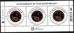 South African Krugerrand Commemorative Mint Miniture Sheet stamps and