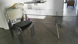 glass table with 5chairs