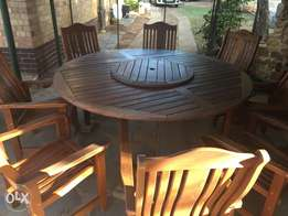 Eight seater Wooden Patio Garden set with Lazy Susan