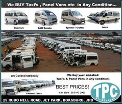 WE BUY your smashed Taxi's and Panel Vans in any condition at TPC