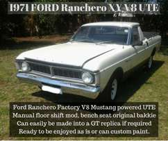 FORD Ranchero 1971 XY ute with Factory Mustang V8 5L motor and manual.