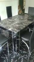 Mini executive dining table marble glass leg with M002 high foam chair