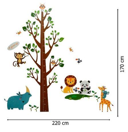 Naklejki ścienne Na ścianę Miarka Wzrostu Drzewo Zwierzęta Ws 0166