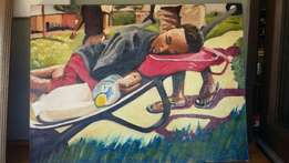 """Oil painting on Canvas """"Sleeping on the Job"""" not signed"""