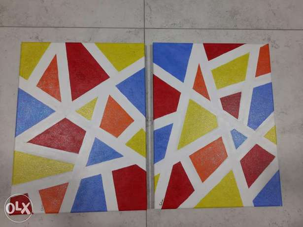 2 colorful paintings new