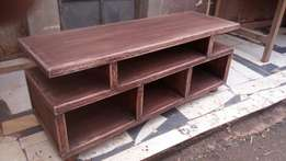 Rustic luxury solid mahogany TV stand.