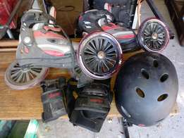 Large wheel roller blades and safty equip