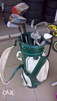 Golf Sticks in bag with golf balls