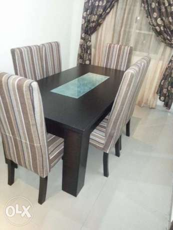 Mdf/Glass Six Seater Fabric Dinning Set. Aja - image 1