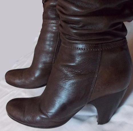 Коричневые кожаные демисезонные женские сапоги - 39 размер. Италия Київ -  зображення 1 0c463982ff966