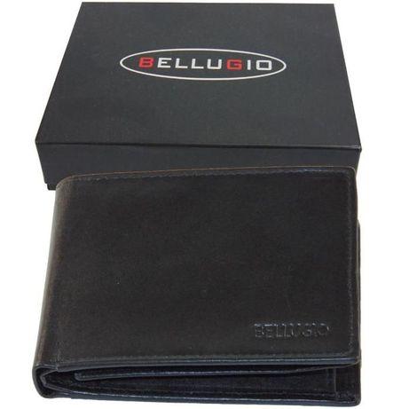 8782366450c32 Portfel męski skórzany czarny poziomy bez zapinki w pudełku na prezent  Lublin - image 1