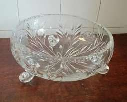 Collectable large heavy crystal Rose bowl with 3 feet