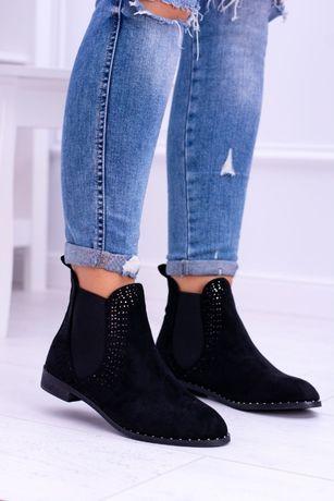 656d70febac9d Botki buty czarne wsuwane workery sztyblety zamszowe zamsz jak nowe 37 Łódź  - image 1