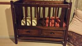 Kiaat wood cot with drop side and 2 drawers