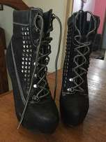"""Black Leather 6"""" inch Boot heels"""