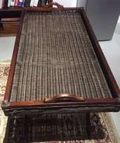 Wicker and Balinese Teak Butlers Tray