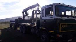 ERF with ADE407T and 130 Fassi crane and drawbar trailer