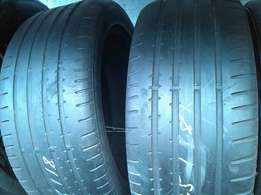 Two used 255/45/18 Continental tyres both for R650