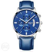 Men's Luxury Fashion 3ATM Analog Quartz Blue Leather Strap Watch