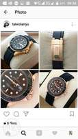 Black rubber strap Rolex watch