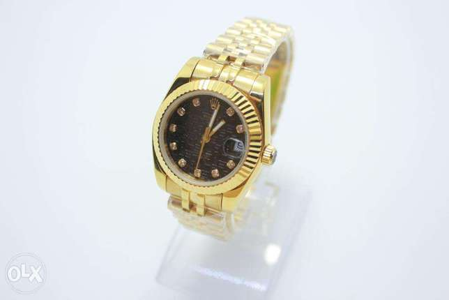 Datejust Full Gold Black For women ساعة حريمي