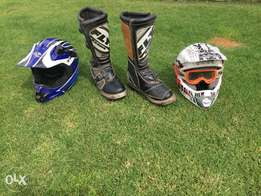Off road motorbike Helmets and Riding boots