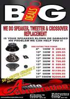 "Audio Corp: New Replacement Speakers from 6"" to 21"" in stock"