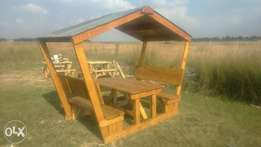 New wooden backrest 6 seater with roof for sale
