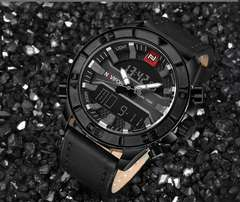 Leather strapped dual watch