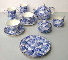 Beautiful Blue & White Floral Tea & Coffee Set for two