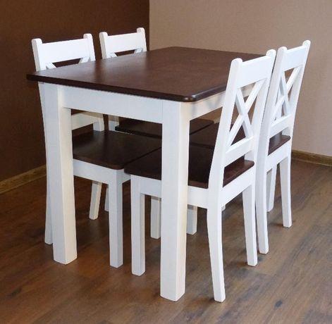 Biały Drewniany Stylowy Stół Kuchenny Z Krzesłami Do Kuchni