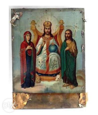antique Russian 19th century icon king of glory