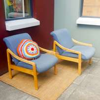 Pair: retro arm chairs: blonde wood, pretty but not perfect