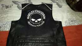Harley Davidson leather waist coat willie G collecters skull refective