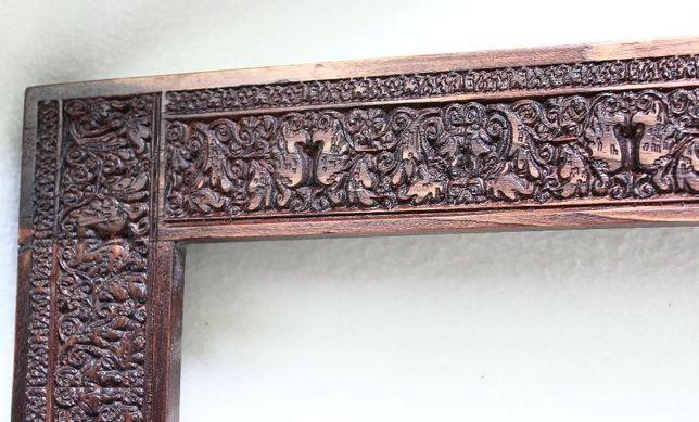 Poważne Drewniana rama na obraz ramka rzeźbiona 30x40 płaskorzeźba PQ64