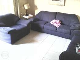 3 blue couches