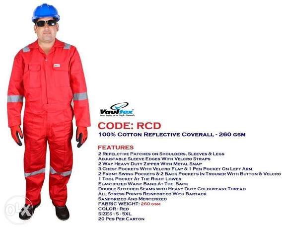 100%coTTon coVeRaLL wiTH rEFleCtiVe-260 Gsm ReD