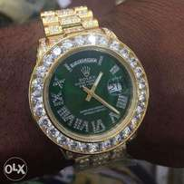 Presidential Rolex Green face ice wrist watch