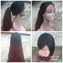 Lace front with parting million braids